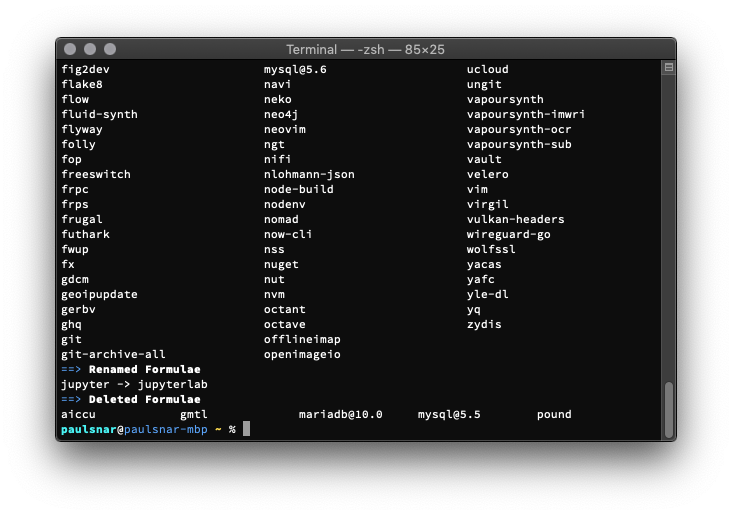 Screenshot of a terminal window, among 'deleted formulate' is 'pound'