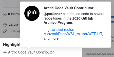 Arctic Code Vault Contributor badge on Github